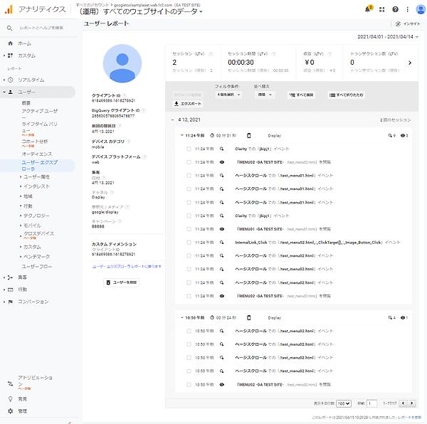 図2.Google Analytics(ユニバーサルアナリティクス)のユーザーエクスプローラのユーザーレポート