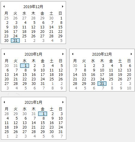 図2.2019,2020,2021年の12月と1月のカレンダー