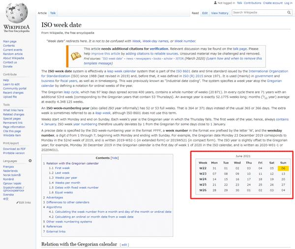 図15.Wikipediaは英語のISO週の説明ページ